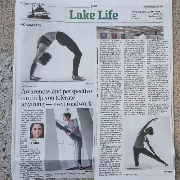 oknamaste in print the citizen auburn newspaper
