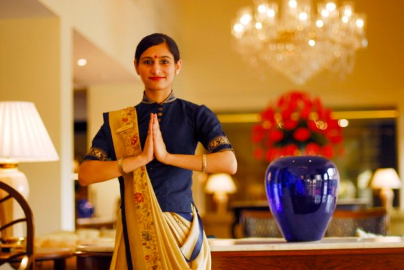 namaste indian woman oberoi hotel clerk oknamaste